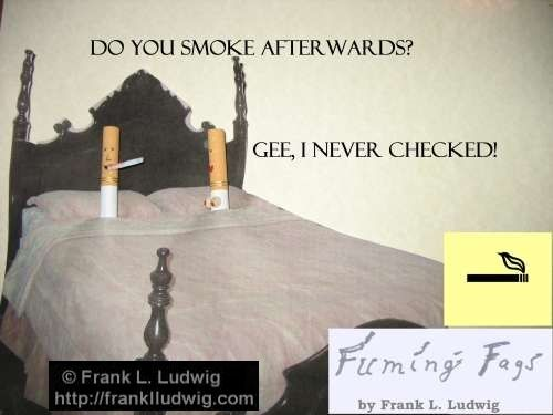Fuming Fags: 'Do you smoke afterwards?' - 'Gee, I never checked'