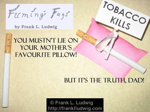 fuming fags fuming fags tobacco kills you mustn t lie on mother s favourite pillow