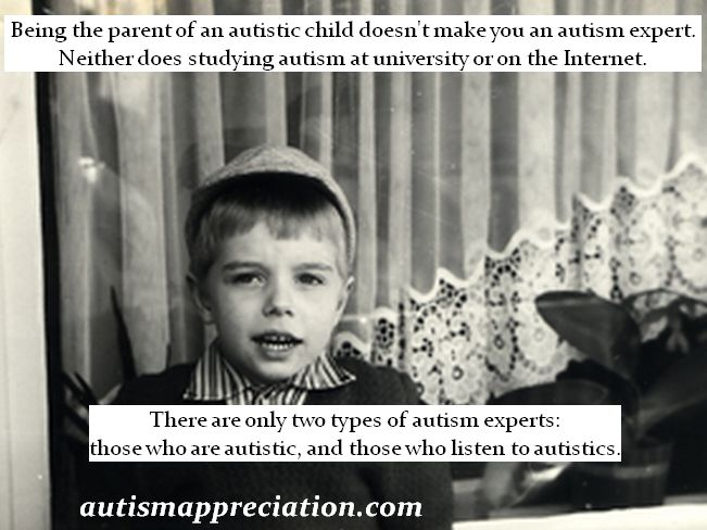 Being the parent of an autistic child doesn't make you an autism expert. Neither does studying at university or on the Internet. There are only two types of autism experts: those who are autistic, and those who listen to autistics.